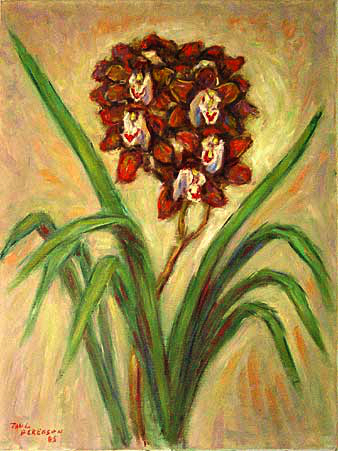 """Brown Cymbidiums 2"" Orchid Flower oil painting and prints by Pointillistic/Impressionist painter Paul Berenson"