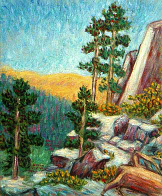 """Buena Vista Peak"" National Park oil painting and prints by Pointillistic/Impressionist painter Paul Berenson"