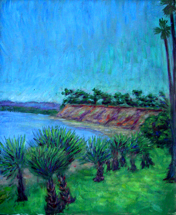"""Butterfly Beach 2"" Santa Barbara oil painting and prints by Pointillistic/Impressionist painter Paul Berenson"