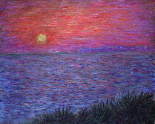 """Butterfly Beach Sunset 1"" Santa Barbara oil painting and prints by Pointillistic/Impressionist painter Paul Berenson"