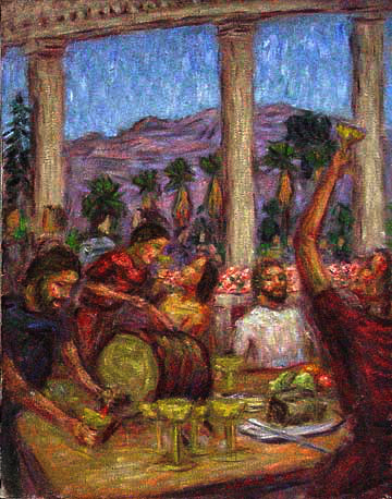 """The Wedding Feast at Cana"" Classical Figure oil painting and prints by Pointillistic/Impressionist painter Paul Berenson"
