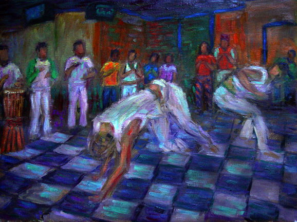 """Capoeira 1"" Capoeira oil painting and prints by Pointillistic/Impressionist painter Paul Berenson"