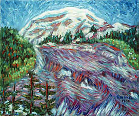 """Carbon Glacier"" Mount Rainier oil painting and prints by Pointillistic/Impressionist painter Paul Berenson"