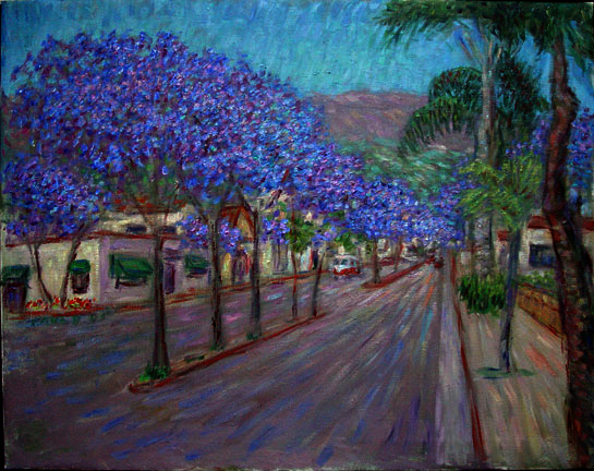 """Carrillo Street With Jacarandas"" Santa Barbara oil painting and prints by Pointillistic/Impressionist painter Paul Berenson"