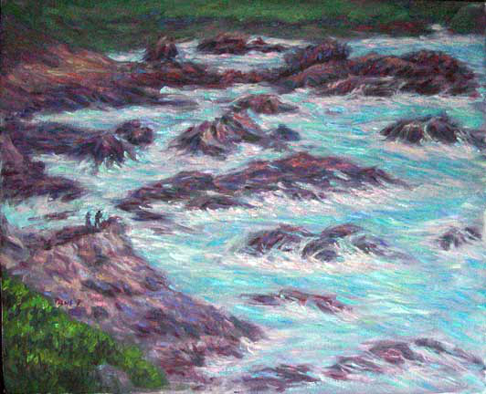 """Carmel Rocks"" California Coast oil painting and prints by Pointillistic/Impressionist painter Paul Berenson"