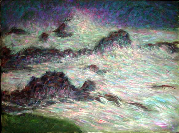 """Carmel Surf"" California Surf oil painting and prints by Pointillistic/Impressionist painter Paul Berenson"
