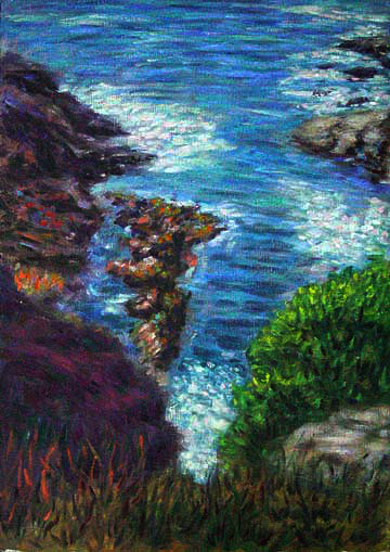"""Carmel Coast 2"" Big Sur oil painting and prints by Pointillistic/Impressionist painter Paul Berenson"