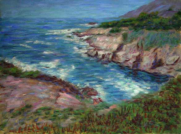 """Carmel Coast"" Big Sur oil painting and prints by Pointillistic/Impressionist painter Paul Berenson"