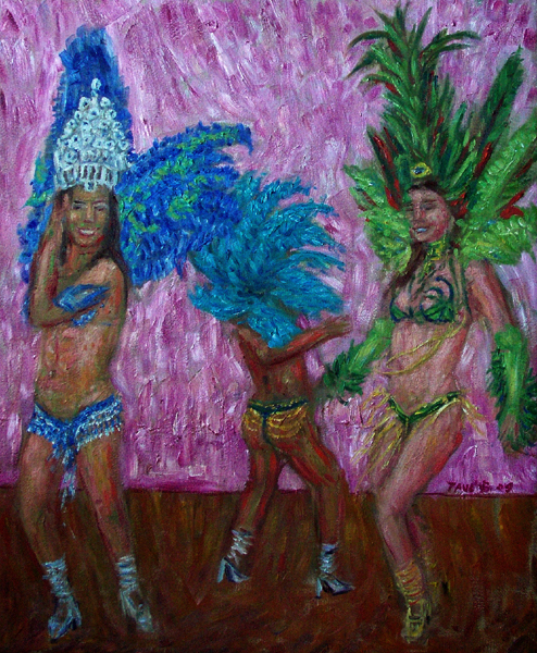 """Santa Barbara Carnaval, 2009"" Samba oil painting and prints by Pointillistic/Impressionist painter Paul Berenson"