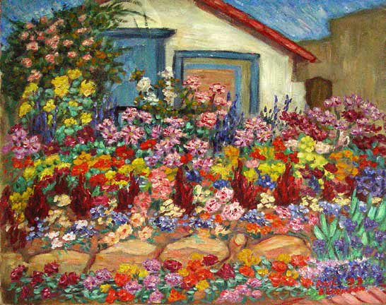 """Carol's Flowers"" Flower Gardens oil painting and prints by Pointillistic/Impressionist painter Paul Berenson"
