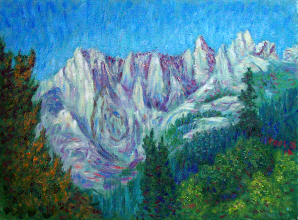 """Castle Crags"" Cascade Range oil painting and prints by Pointillistic/Impressionist painter Paul Berenson"