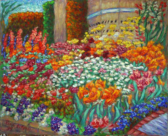 """Flower Garden With Tulips"""