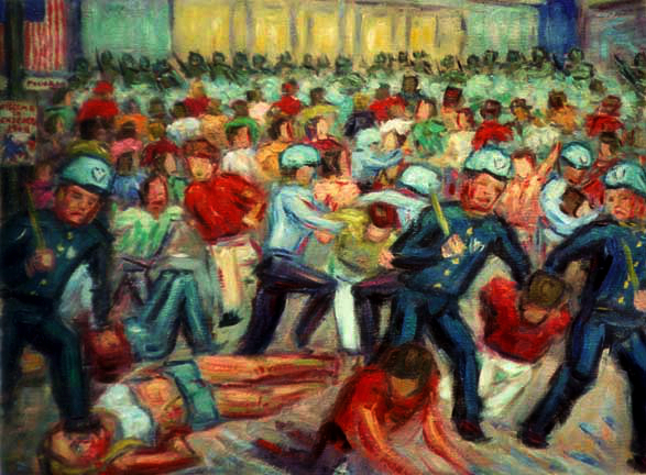 """Battle of the Chicago Convention, August 29, 1968"" History of the 60s oil painting and prints by Pointillistic/Impressionist painter Paul Berenson"