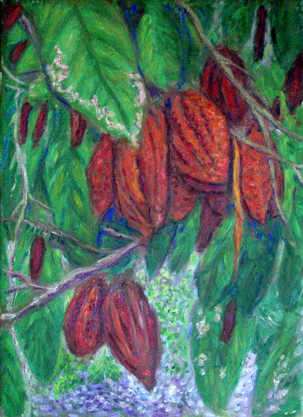 """Chocolate Tree"" Hawaii oil painting and prints by Pointillistic/Impressionist painter Paul Berenson"