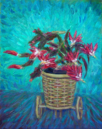 """Ann's Christmas Cactus"" Flower oil painting and prints by Pointillistic/Impressionist painter Paul Berenson"