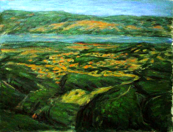"""Clear Lake 2"" California oil painting and prints by Pointillistic/Impressionist painter Paul Berenson"