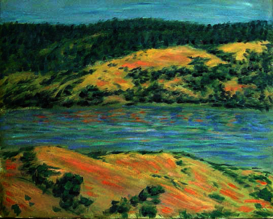 """Clearlake"" California oil painting and prints by Pointillistic/Impressionist painter Paul Berenson"