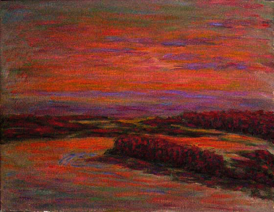 """Columbia River Sunset"" Sunset oil painting and prints by Pointillistic/Impressionist painter Paul Berenson"