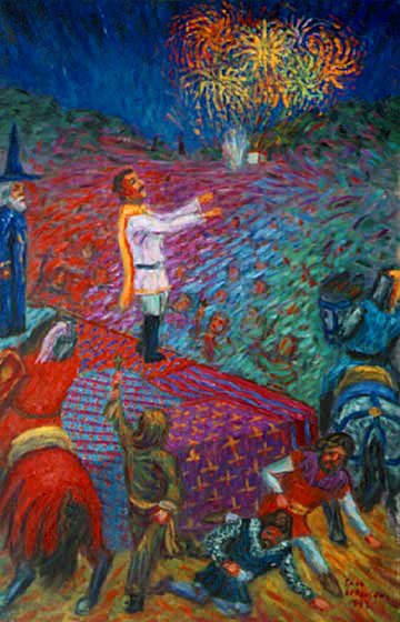 """A Connecticut Yankee in King Arthur's Court"" Classical Figure oil painting and prints by Pointillistic/Impressionist painter Paul Berenson"