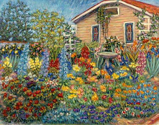 """Cottage Garden"" Flower Garden oil painting and prints by Pointillistic/Impressionist painter Paul Berenson"