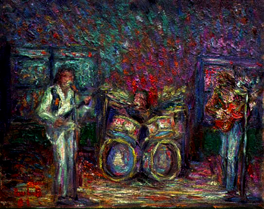 """The Cream"" Rock Bands oil painting and prints by Pointillistic/Impressionist painter Paul Berenson"