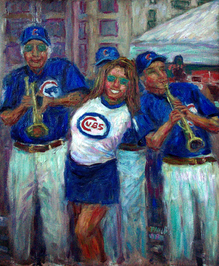"""Cubs Fan"" Chicago Cubs oil painting and prints by Pointillistic/Impressionist painter Paul Berenson"