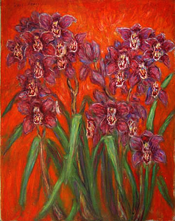 """Red Cymbidiums"" Cymbidium Orchid oil painting and prints by Pointillistic/Impressionist painter Paul Berenson"