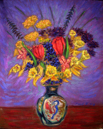 """Bouquet With Daffodils"" Flower oil painting and prints by Pointillistic/Impressionist painter Paul Berenson"