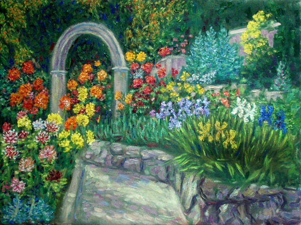 """Dahlia and Iris Garden"" Flower Garden oil painting and prints by Pointillistic/Impressionist painter Paul Berenson"