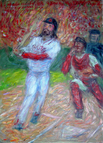 """Johnny Damon"" Red Sox oil painting and prints by Pointillistic/Impressionist painter Paul Berenson"