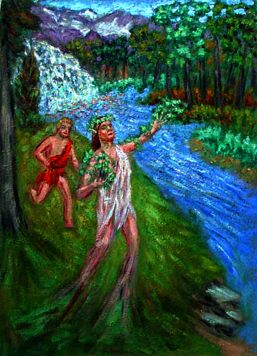 """Daphne"" Classical Figure oil painting and prints by Pointillistic/Impressionist painter Paul Berenson"