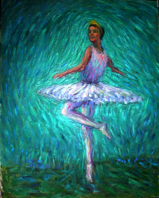 """Darcey"" Royal Ballet oil painting and prints by Pointillistic/Impressionist painter Paul Berenson"