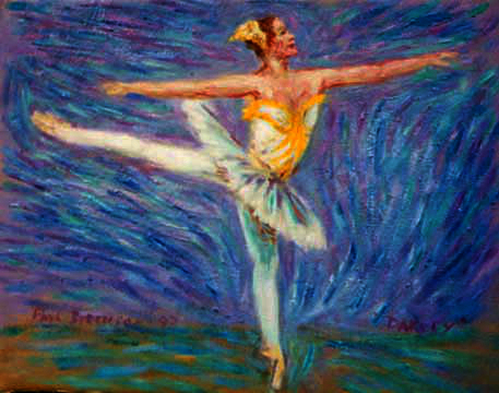 """Darcey Bussell"" Royal Ballet oil painting and prints by Pointillistic/Impressionist painter Paul Berenson"