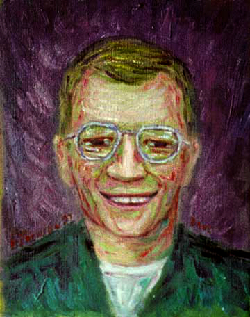 """Dave the Late Nite TV Guy"" Celebrity Portrait oil painting and prints by Pointillistic/Impressionist painter Paul Berenson"