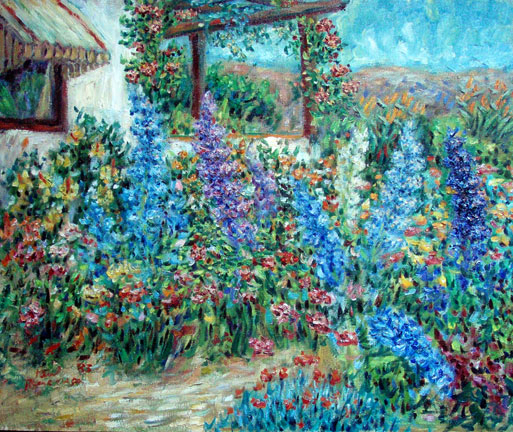 """Delphinium Garden"" Flower Garden oil painting and prints by Pointillistic/Impressionist painter Paul Berenson"