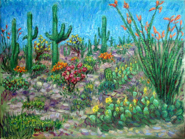 """Desert Blooms"" Saguaro National Park oil painting and prints by Pointillistic/Impressionist painter Paul Berenson"