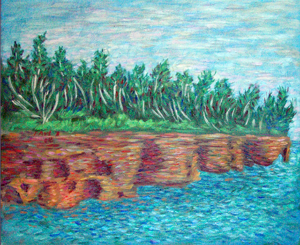 """Devil's Island, Lake Superior"" Lake Superior oil painting and prints by Pointillistic/Impressionist painter Paul Berenson"