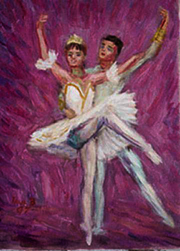 """Sugar Plum Fairy and her Cavalier"" Ballet oil painting and prints by Pointillistic/Impressionist painter Paul Berenson"