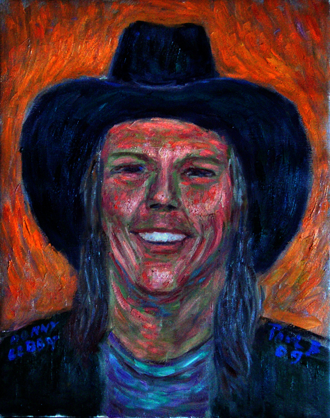 """Donny Libby"" Friend Portrait oil painting and prints by Pointillistic/Impressionist painter Paul Berenson"