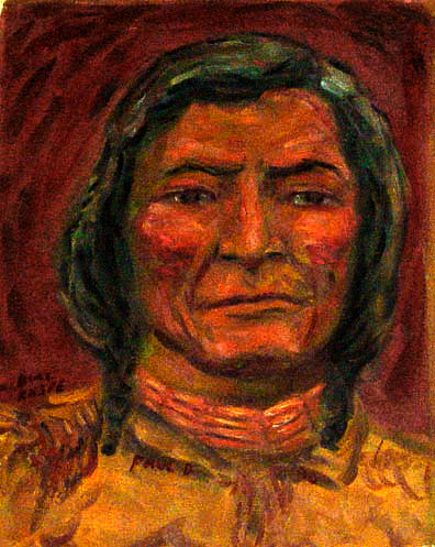 """Dull Knife (Morning Star)"" American Indian oil painting and prints by Pointillistic/Impressionist painter Paul Berenson"