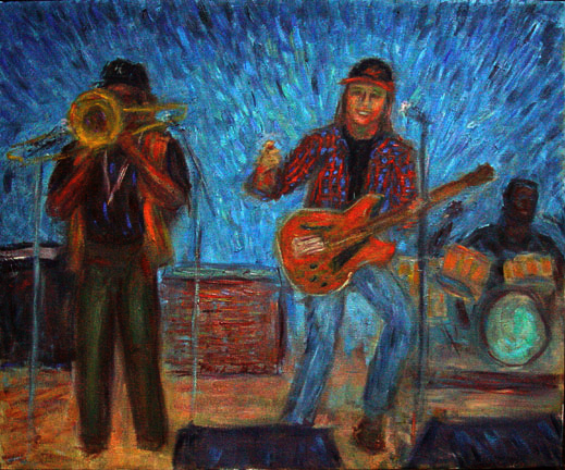 """Elvin Bishop Band"" Rock & Roll oil painting and prints by Pointillistic/Impressionist painter Paul Berenson"