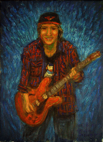 """Elvin Bishop"" Rock & Roll oil painting and prints by Pointillistic/Impressionist painter Paul Berenson"