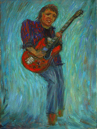 """Pigboy Crabshaw"" Rock & Roll oil painting and prints by Pointillistic/Impressionist painter Paul Berenson"