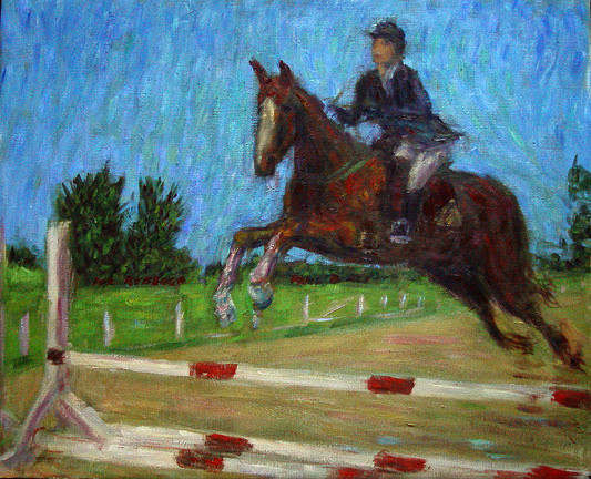 """The Equestrienne""  Equestrienne oil painting and prints by Pointillistic/Impressionist painter Paul Berenson"