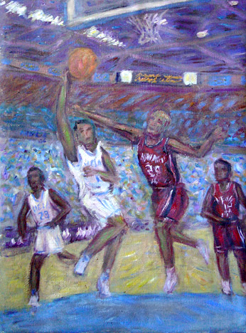 Jordan Farmar Drives to the Hoop UCLA Basketball oil painting and prints by Pointillistic/Impressionist painter Paul Berenson