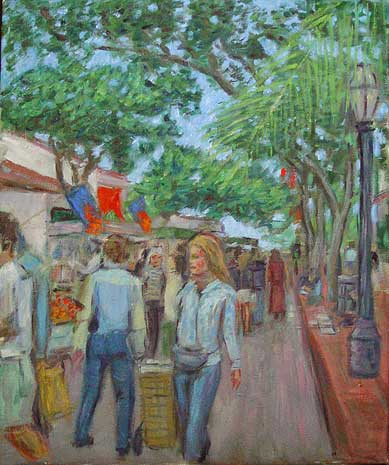 """State Street Farmers Market"" Santa Barbara oil painting and prints by Pointillistic/Impressionist painter Paul Berenson"