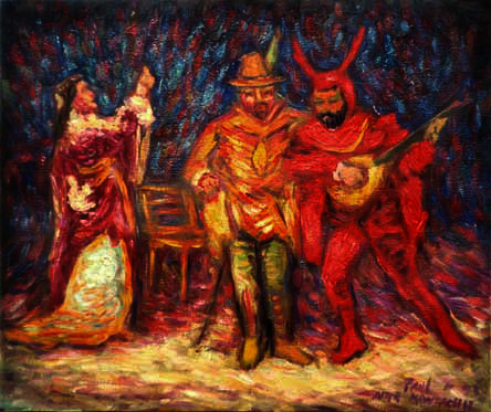 """Faust and Mephistopheles"" (after Monticelli) Literary oil painting and prints by Pointillistic/Impressionist painter Paul Berenson"