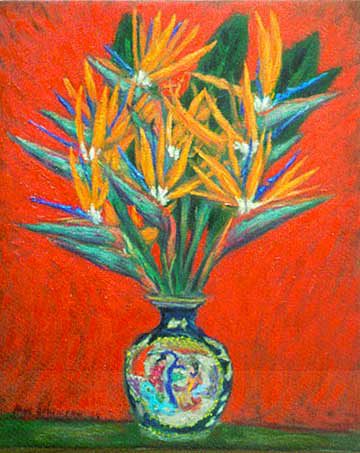 """Firebirds"" Flowers oil painting and prints by Pointillistic/Impressionist painter Paul Berenson"