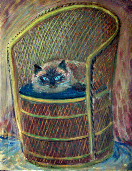 """Big Fluff In His Chair"" Himalayan Cat oil painting and prints by Pointillistic/Impressionist painter Paul Berenson"