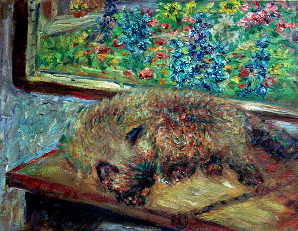 """Sleeping Himalayan Cat"" Cat oil painting and prints by Pointillistic/Impressionist painter Paul Berenson"